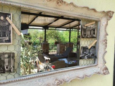 Provence bútor, antikolt fehér fénykép-tükör keret 02.