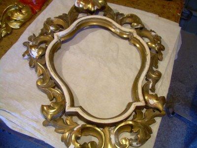 Florentine tükör keret restaurálás 24K arannyal