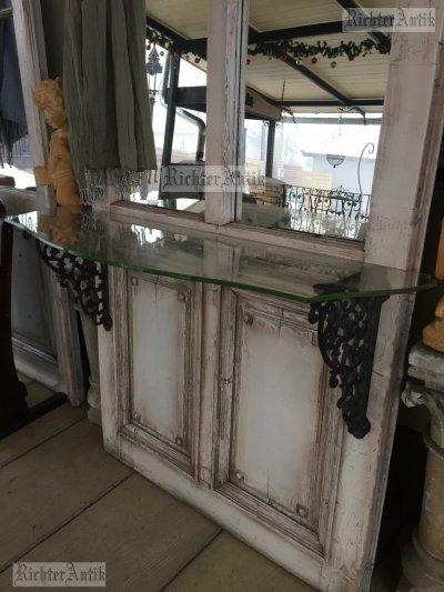Provence előszobafal, fogas Üveg konzol asztallal.
