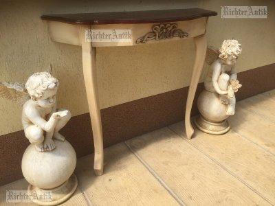 Provence bútor, fehér antikolt Barokk konzol asztal 02.