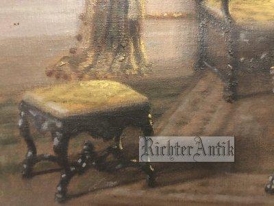 Antik festmény, enteriör.