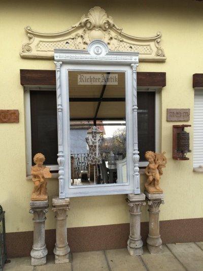 Provence bútor, fehér antikolt álló tükör.